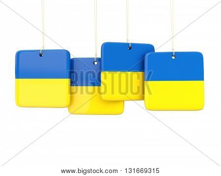 Square Labels With Flag Of Ukraine