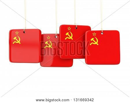Square Labels With Flag Of Ussr