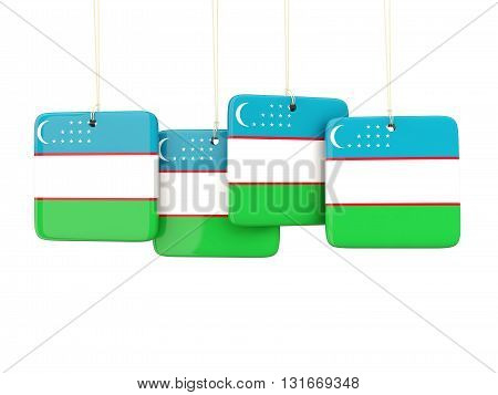 Square Labels With Flag Of Uzbekistan