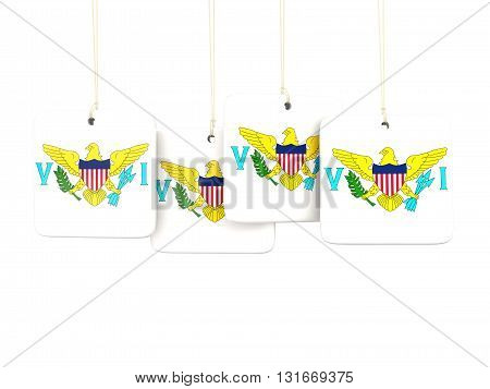 Square Labels With Flag Of Virgin Islands Us