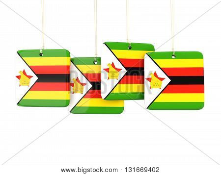 Square Labels With Flag Of Zimbabwe