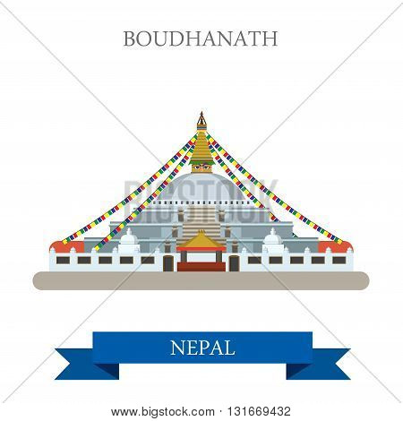 Boudhanath Kathmandu Nepal vector flat attraction sightseeing