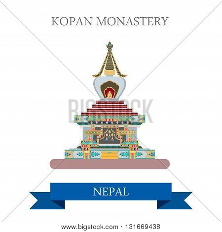 Kopan Monastery Kathmandu Nepal vector flat attraction travel