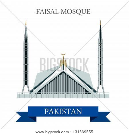 Faisal Mosque Islamabad Pakistan vector flat attraction travel