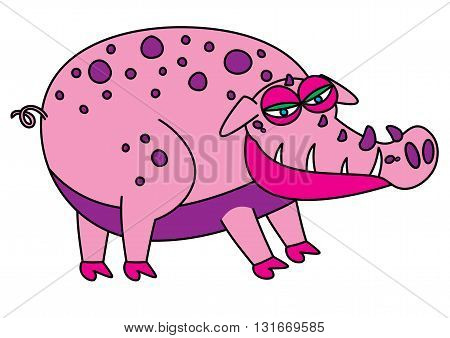ugly imaginary dangerous pig monster vector illustration