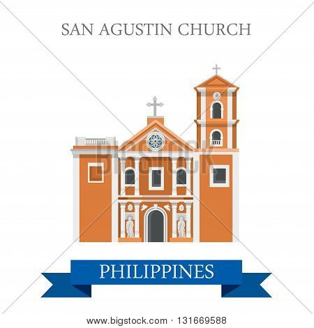 San Agustin Church Manila Philippines vector flat attraction