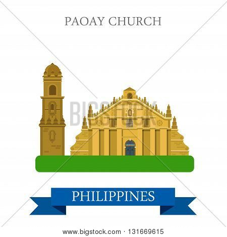 Paoay Church Philippines vector flat attraction sightseeing