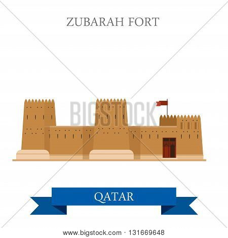 Zubarah Fort Qatar vector flat attraction travel landmark