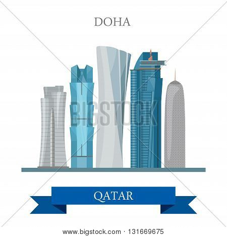Doha Qatar vector flat attraction travel sightseeing