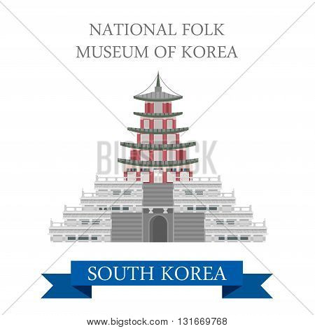 Natinal Folk Museum South Korea vector flat attraction travel