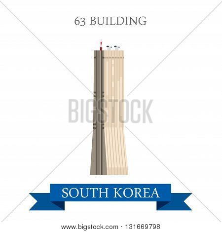 63 building Seoul South Korea landmarks vector attraction
