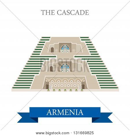 Cascade in Armenia landmarks vector flat attraction