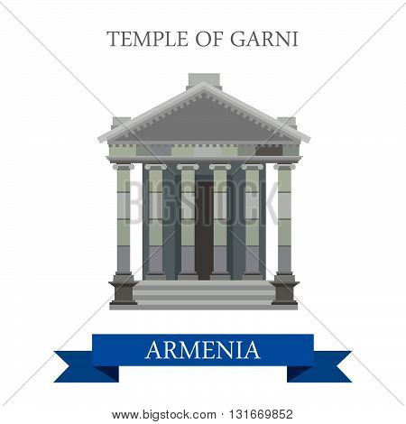 Temple of Garni Armenia landmarks vector flat attraction travel