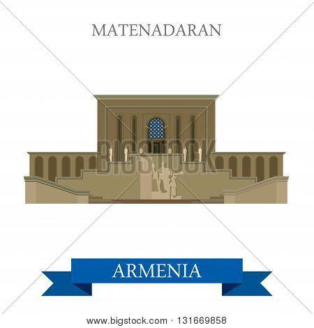 Matenadaran Yerevan Armenia landmarks vector flat attraction