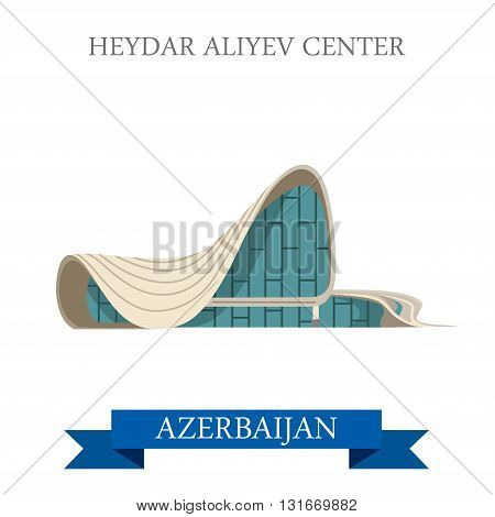 Heydar Aliyev Center Azerbaijan landmarks vector flat attraction