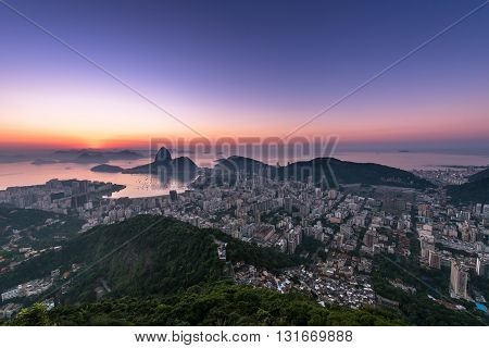 Rio de Janeiro just before Sunrise, view with the Sugarloaf Mountain