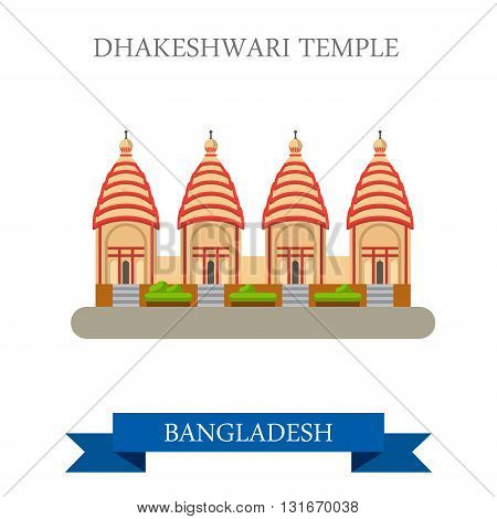 Dhakeshwari Temple Bangladesh landmarks vector flat attraction