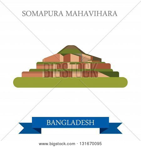 Somapura Mahavihara Buddhist vihara Bangladesh vector attraction