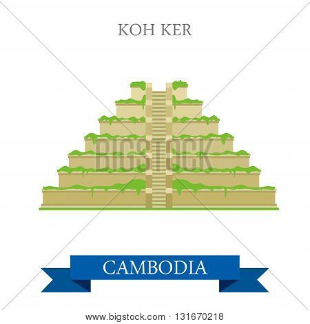 Koh Ker in Cambodia vector flat attraction landmarks