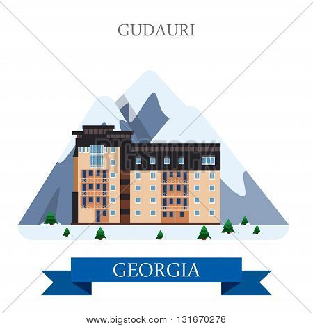 Gudauri mountain ski resort in Georgia vector flat attraction
