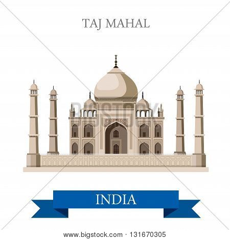 Taj Mahal mausoleum in Agra, India vector flat attraction