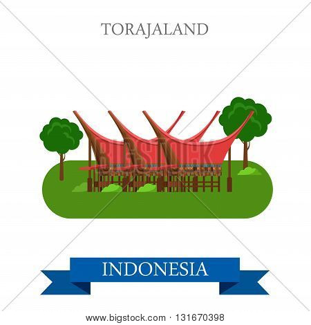 Toraja Land in Rantepao, Indonesia vector flat attraction