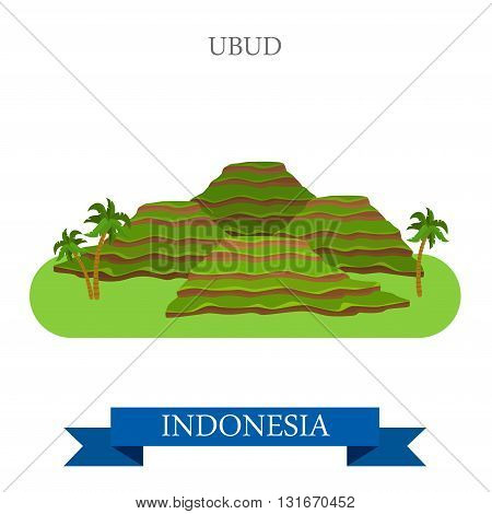 Ubud in Bali Island, Indonesia vector flat attraction