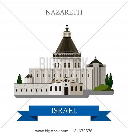 Nazareth in Israel vector flat attraction landmarks