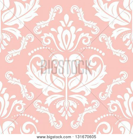 Seamless oriental ornament in the style of baroque. Traditional classic vector pattern. Pink and white pattern