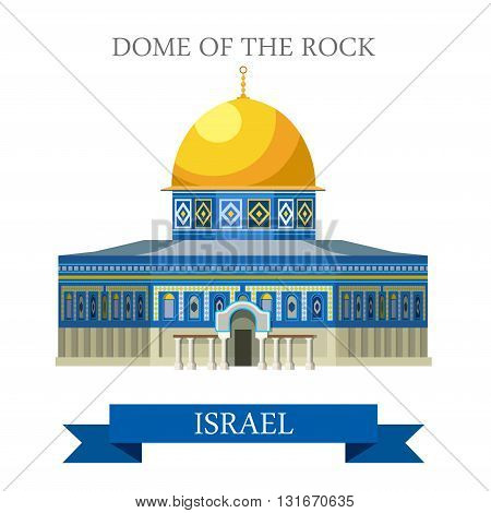Dome of the Rock in Jerusalem Israel vector flat attraction