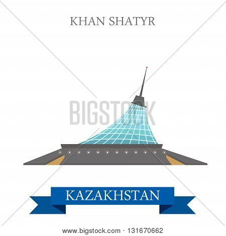 Khan Shatyr Entertainment Center Astana Kazakhstan vector flat