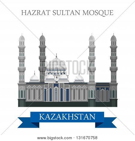 Hazrat Sultan Mosque in Astana Kazakhstan vector flat attraction