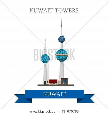 Kuwait Towers vector flat attraction landmarks
