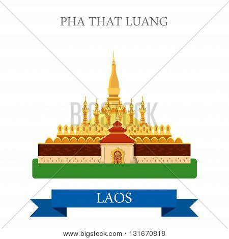 Pha That Luang in Laos vector flat attraction landmarks