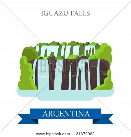Iguazu Falls in Argentina vector flat attraction landmarks