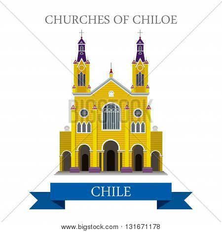 Churches of Chiloe in Chile vector flat attraction landmarks