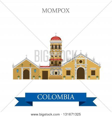 Mompox in Colombia vector flat attraction landmarks
