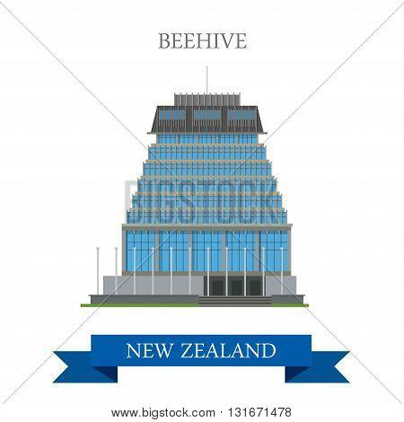 Beehive Parliament Building Wellington New Zealand vector flat