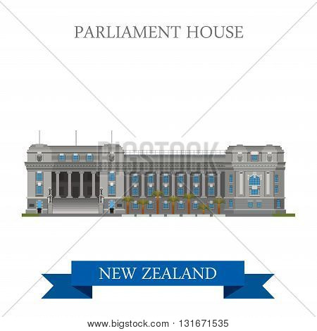 Parliament House Wellington New Zealand vector flat attraction