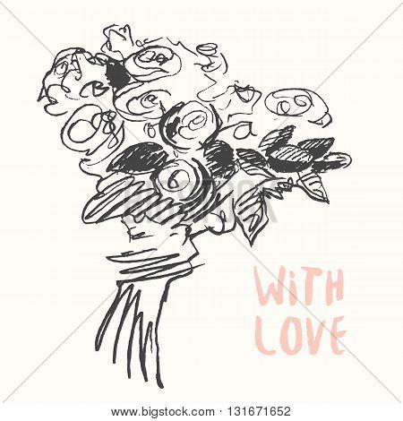 Hand drawn illustration of floral bouquet, vintage vector, sketch