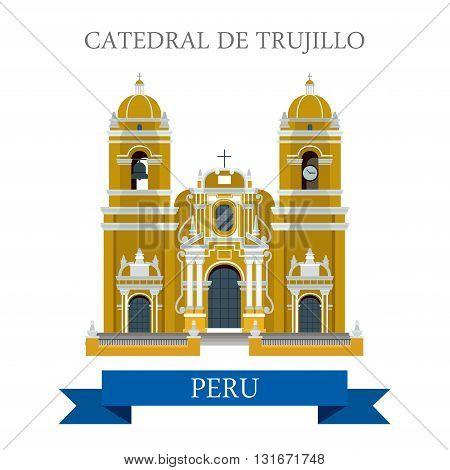 Cathedral de Trujillo Paraguay vector flat attraction landmarks