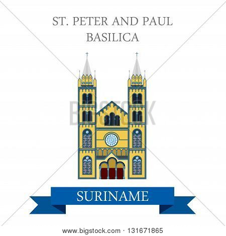 St Peter and Paul Basilica in Suriname vector flat attraction