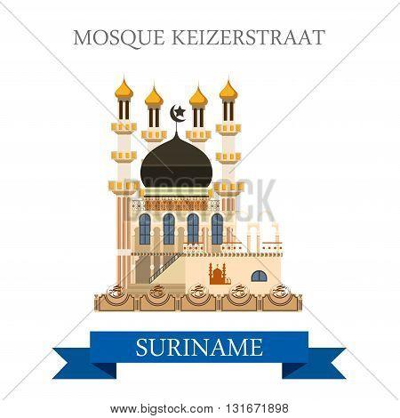Mosque Kiezerstraat in Suriname vector flat attraction landmarks