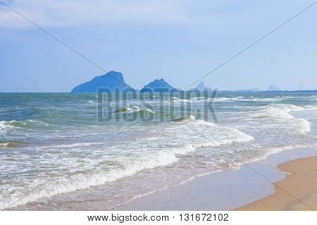 Sam Roi Yod Beach and Dolphin Bay which is a beautiful and quiet 6 km beach stretch 40 kilometers south of Hua Hin in Thailand.
