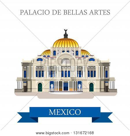 Palacio De Bellas Artes Mexico vector flat attraction landmarks