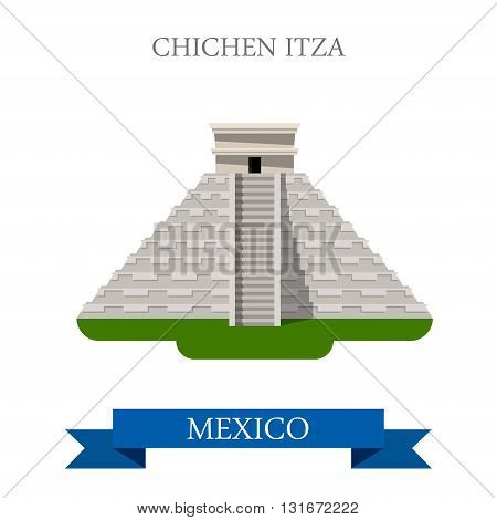 Chichen Itza Maya Pyramid Yucatan Mexico vector flat attraction