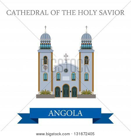 Cathedral The Holy Savior Luanda Angola vector flat attraction