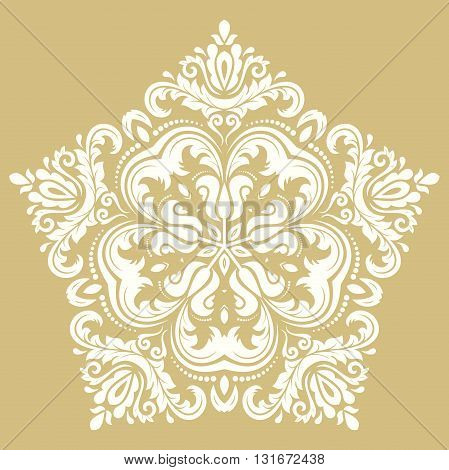 Elegant vector ornament in the style of barogue. Abstract traditional pattern with oriental elements. Golden and white pattern