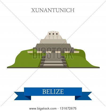 Xunantuntunich in Belize vector flat attraction landmarks