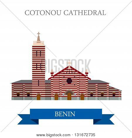 Cotonou Cathedral Benin vector flat Africa attraction landmarks
